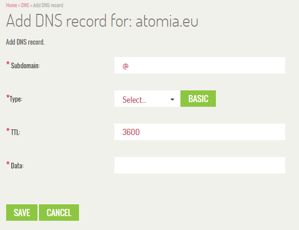 Adding and editing DNS records