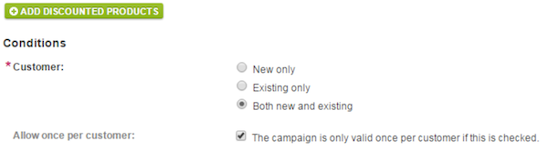 Allow once per customer checkbox
