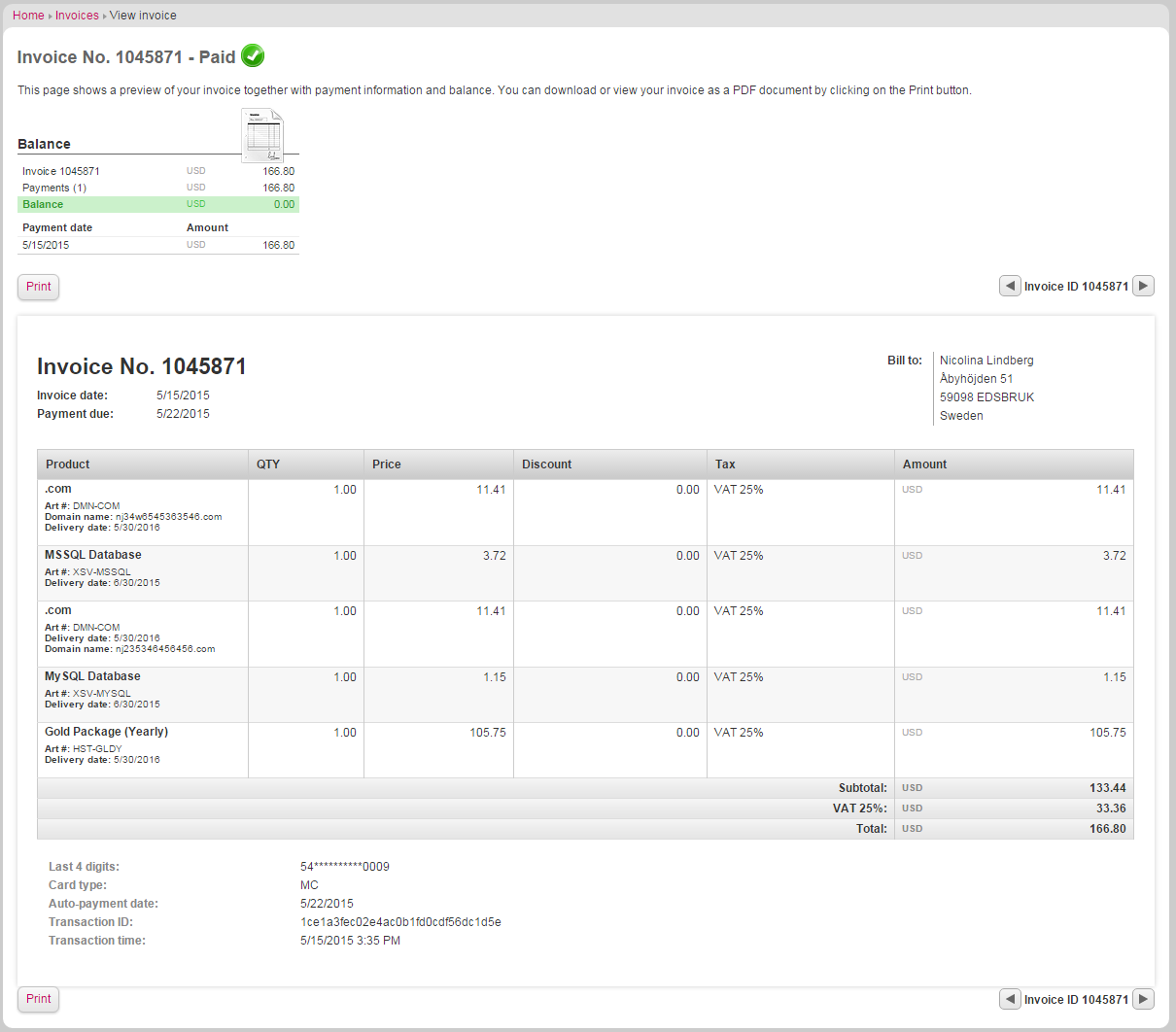 Invoice preview with formatted custom attributes