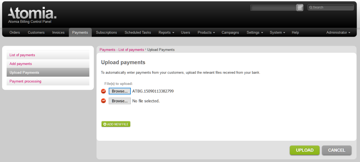 Upload payments