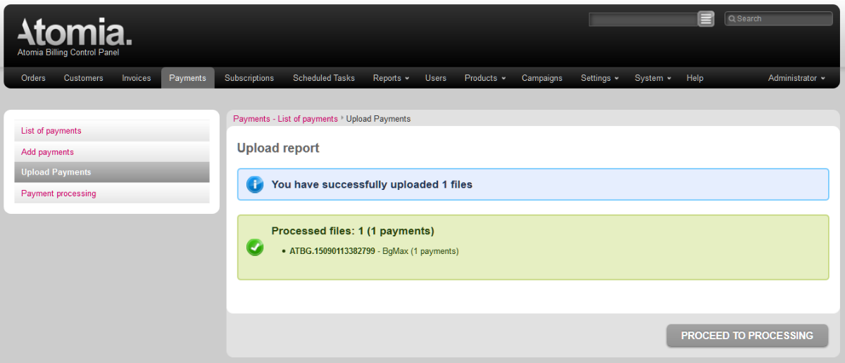 Upload report