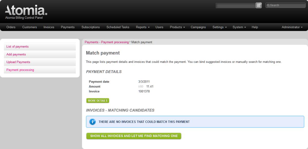 Match payment