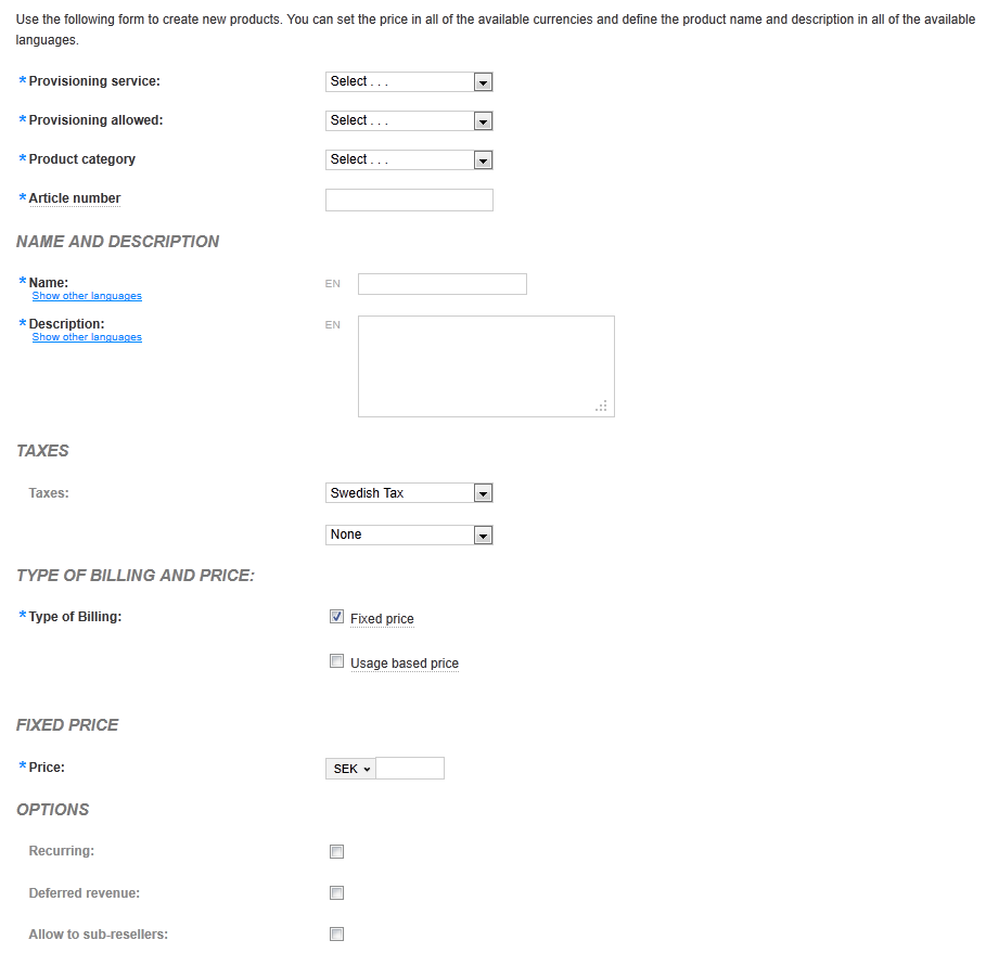 The administrative page for adding new products