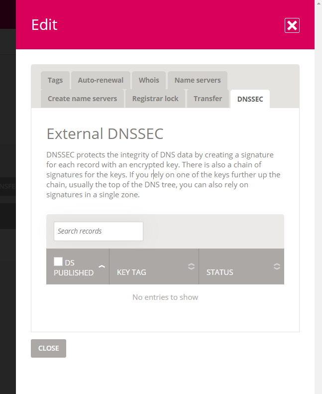 External DNSSEC with no available records