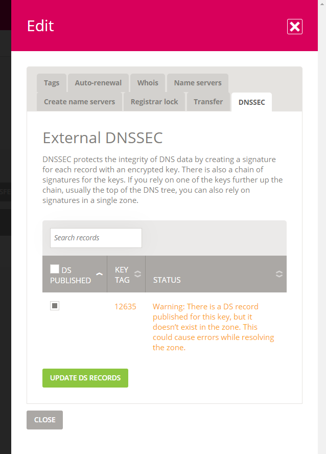 External DNSSEC with published record and no matching record in the zone