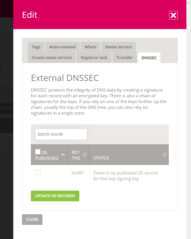 External DNSSEC with available record from the zone
